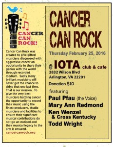 Cancer Can Rock IOTA Club Thursday Feb 25, 2016